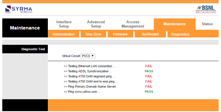 use DSL modem's diagnostic tool